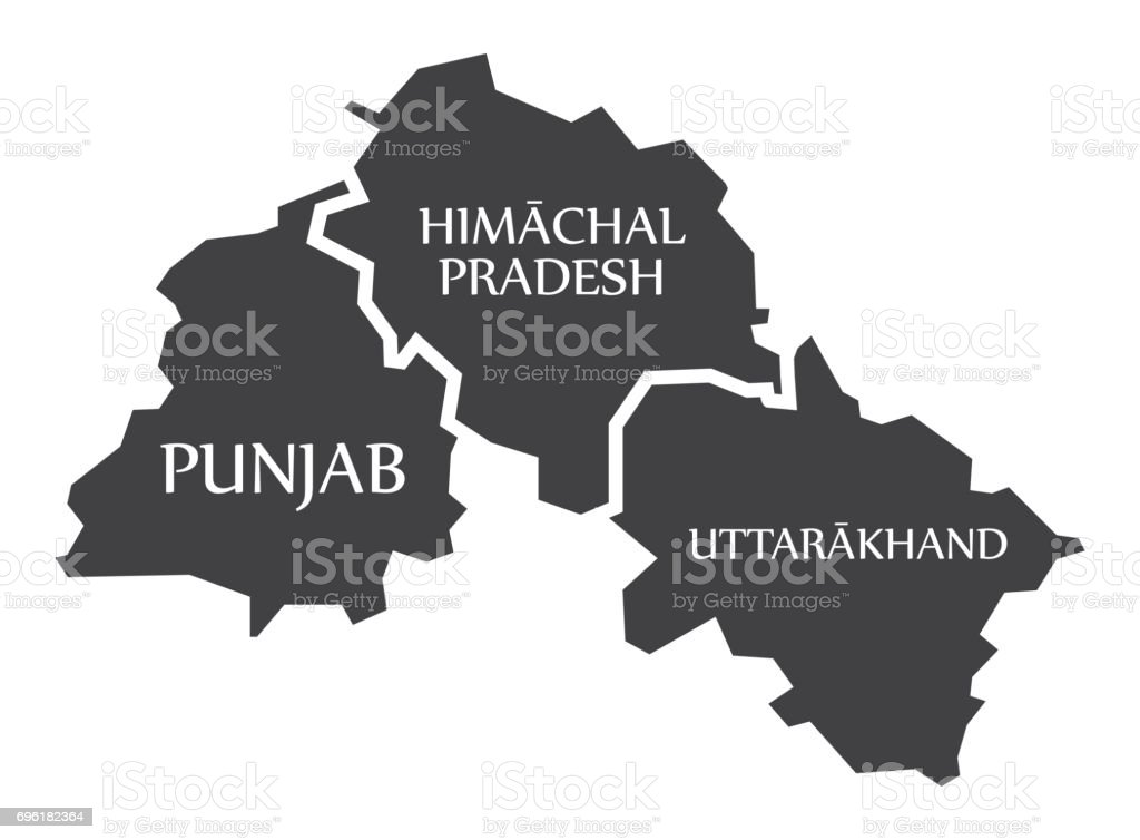 Punjab Himachal Pradesh Uttarakhand Map Illustration Of