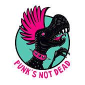 Punk dinosaur with pink haircut.