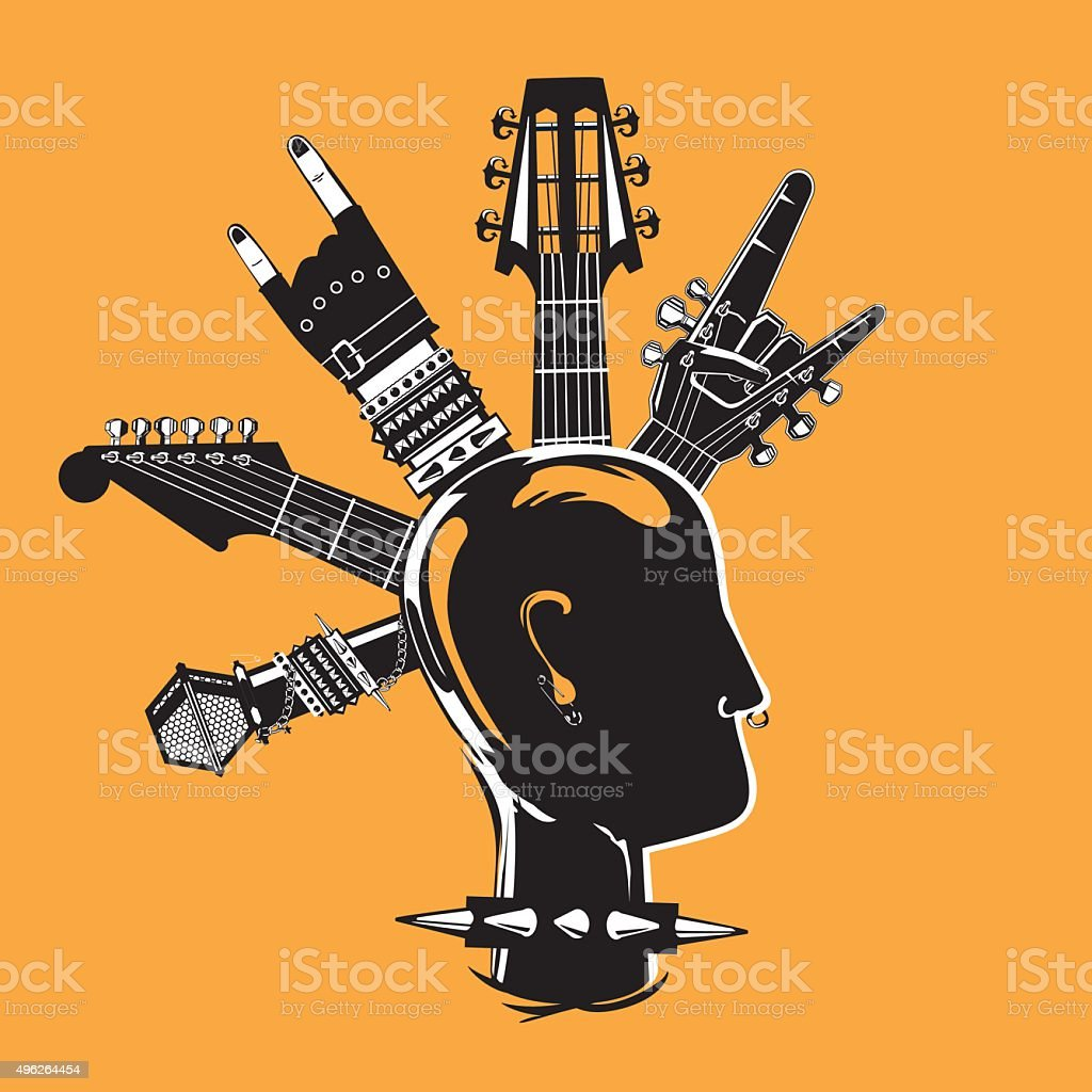 Punk head - Illustration vectorielle