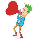 punk man blowing love balloon