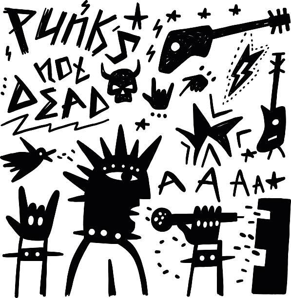 punk-musiker und kritzeleien - punk stock-grafiken, -clipart, -cartoons und -symbole