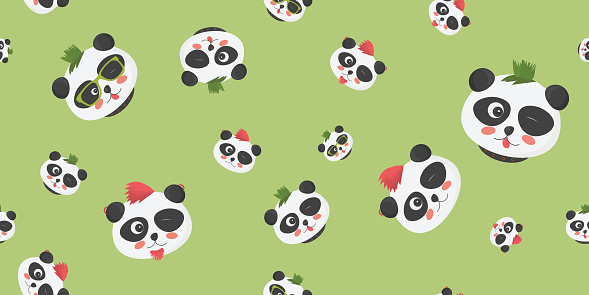 Punk Pandas Vector seamless pattern: panda faces with punk haircuts on a light green background.