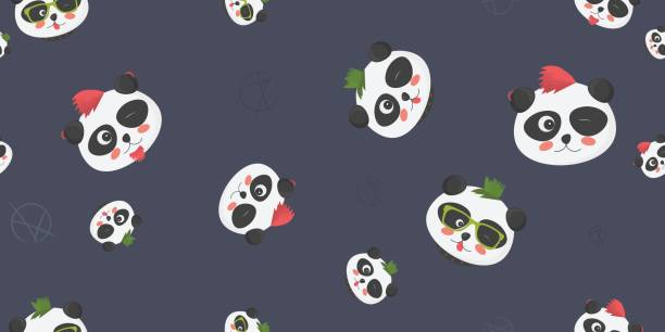 Punk Pandas Vector seamless pattern. Punk Pandas vector seamless pattern: cute panda bear faces with punk haircuts and anarchy symbol on a dark blue background. Great as textile or fabric print, cover or wrapping template, wallpaper, etc anarchy symbol stock illustrations