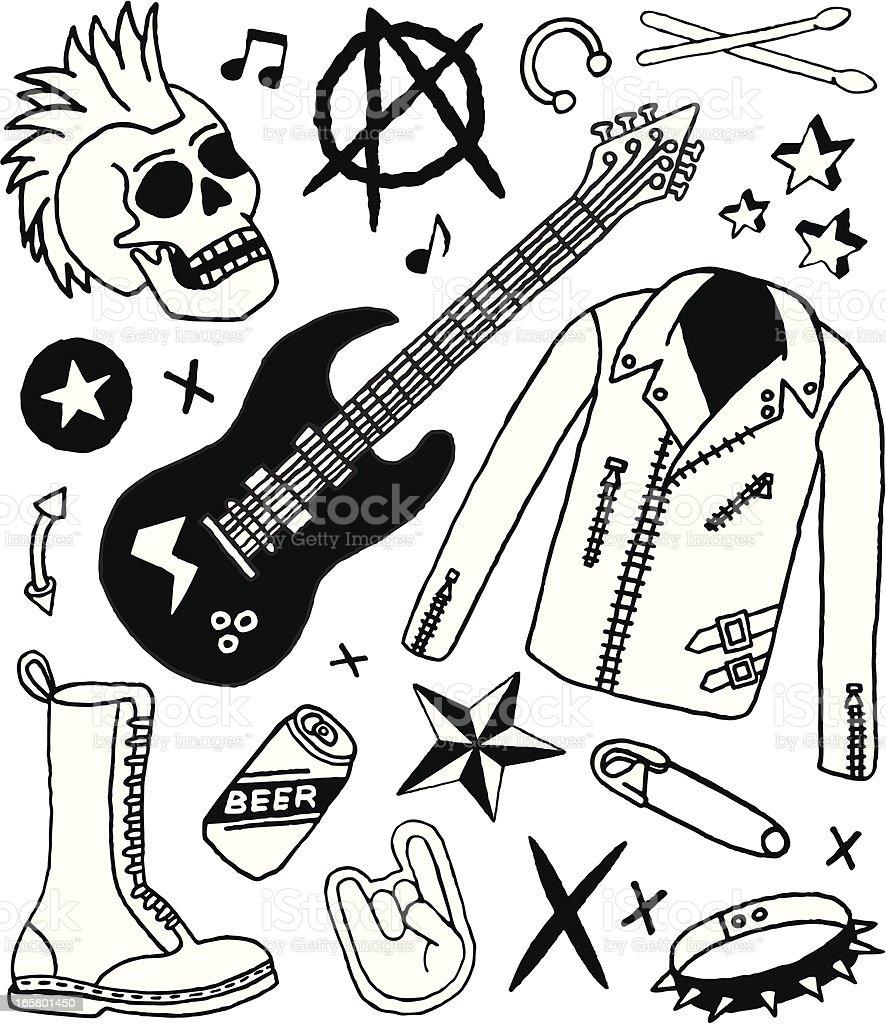 Punk Rock Doodles vector art illustration