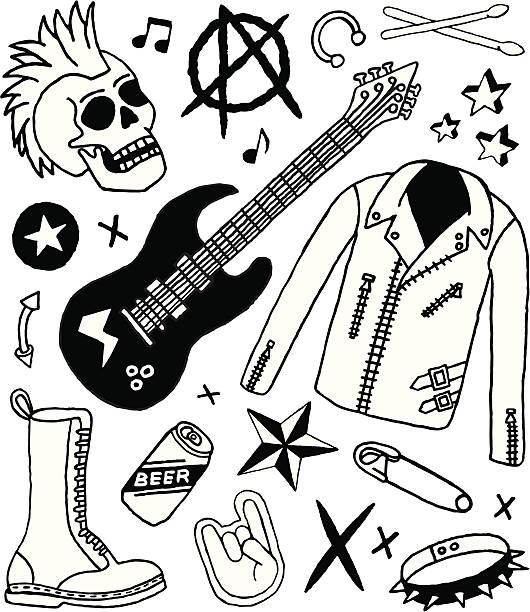 punk rock und kritzeleien - punk stock-grafiken, -clipart, -cartoons und -symbole