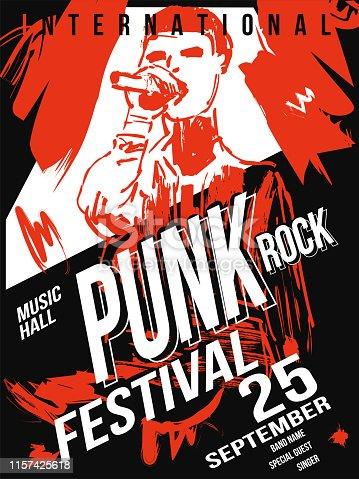 istock Punk rock festival poster template 1157425618