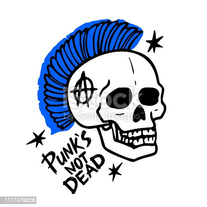 Punk rock music. Punks not dead words and mohawk skull. vector illustration on white background.