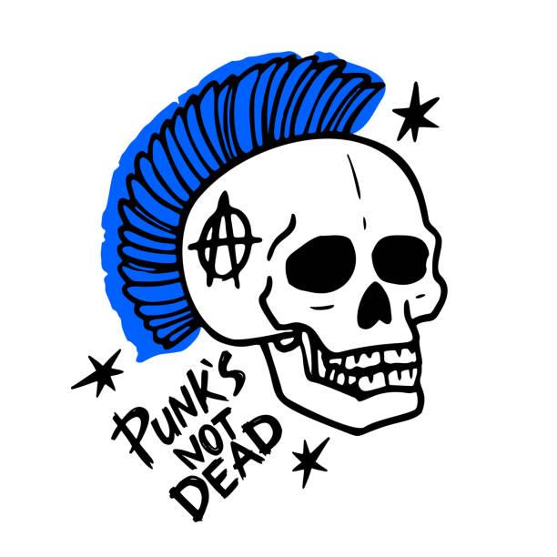 punk-rock-musik. punks nicht tote worte und mohawk schädel. vektor-illustration auf weißem hintergrund. - punk stock-grafiken, -clipart, -cartoons und -symbole