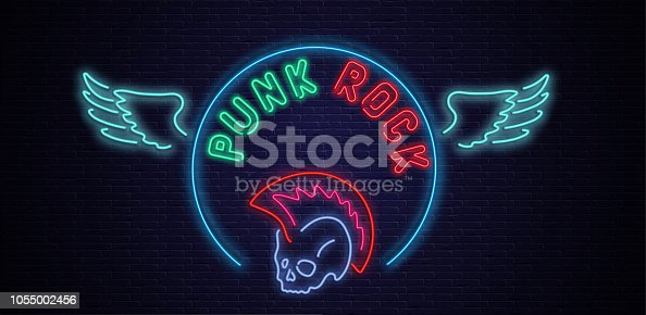 Punk rock neon colorful signboard with wings on black realistic bricklaying wall textured background. Design template for club, disco, bar, concert, party. Vector illustration.