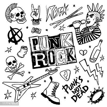 istock Punk rock set. Punks not dead words and design elements. vector illustration. 1177479320