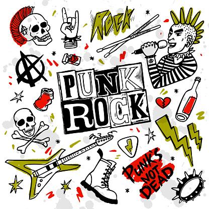 Punk rock set. Punks not dead words and design elements. vector illustration.