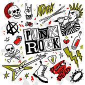 istock Punk rock set. Punks not dead words and design elements. vector illustration. 1177479324