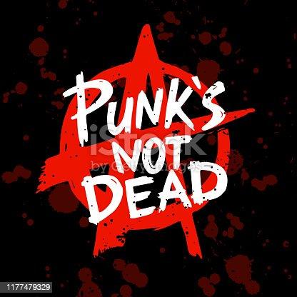 istock Punk rock set. Punks not dead words and design elements. vector illustration. 1177479329