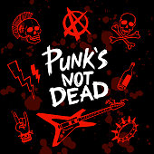 istock Punk rock set. Punks not dead words and design elements. vector illustration. 1177479334