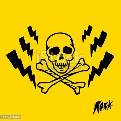 istock Punk rock set. Punks not dead words and design elements. vector illustration. 1177479337