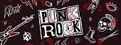 istock Punk rock set. Punks not dead words and design elements. vector illustration. 1177479340