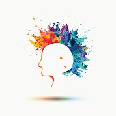 Punk silhouette with a watercolor rainbow mohawk. Vector illustration