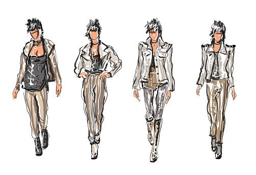 Punk Sketched Fashion Models