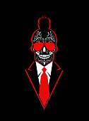 Punk skull icon with red tie and suit