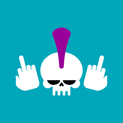 Punk skull with mohawk and fuck. head of skeleton. Vector illustration