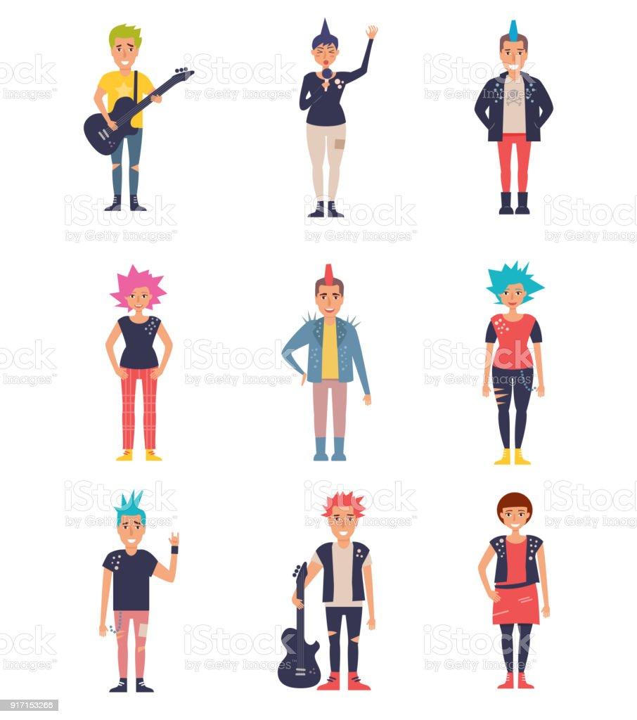 Punks set. Vector. Cartoon vector art illustration