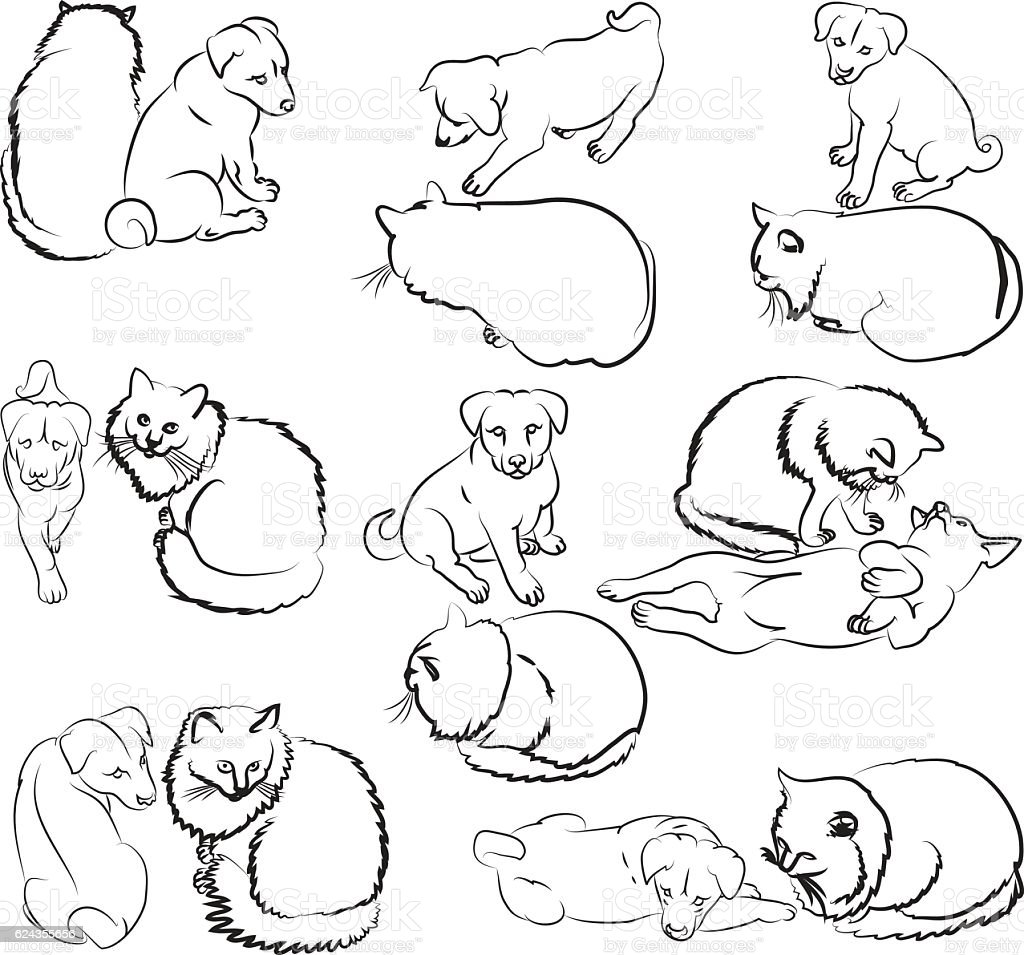 pup and cat sketches stock vector art more images of black color