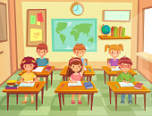 Pupil kids at classroom. Primary school children pupils, smiling boys and girls study in schools class cartoon vector illustration