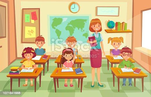 Ilustración De Alumnos Y Profesor En El Aula Pedagogo De