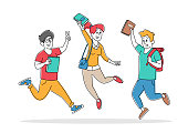 istock Pupils Characters with Backpacks Rejoice with Hands Up Jumping in Row. Group of Students Come to School to Get Education 1280889811