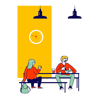 Pupils Eating Meals Sitting at Tables during Lunch Time in College, Children Characters Visiting School Cafeteria. Students Communicate in Canteen or Dining Room. Linear People Vector Illustration