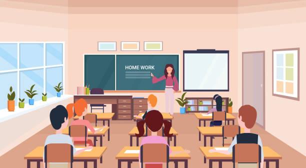 bildbanksillustrationer, clip art samt tecknat material och ikoner med elever som tittar på kvinna lärare skriver hem arbete krita ombord moderna skolan klass rummet interiör horisontell plan - klassrum