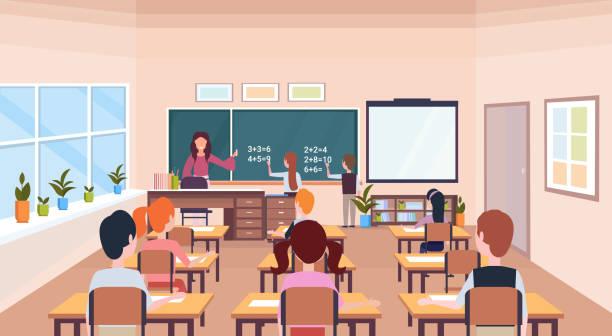 bildbanksillustrationer, clip art samt tecknat material och ikoner med elever lösa matematiska problem på svarta tavlan under lektion utbildning konceptet moderna skolan klass rummet interiör manliga kvinnliga serie figurer horisontell platt - klassrum