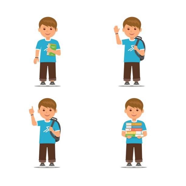 illustrazioni stock, clip art, cartoni animati e icone di tendenza di pupils with different pose isolated on white background. cartoon school boys . - compagni scuola