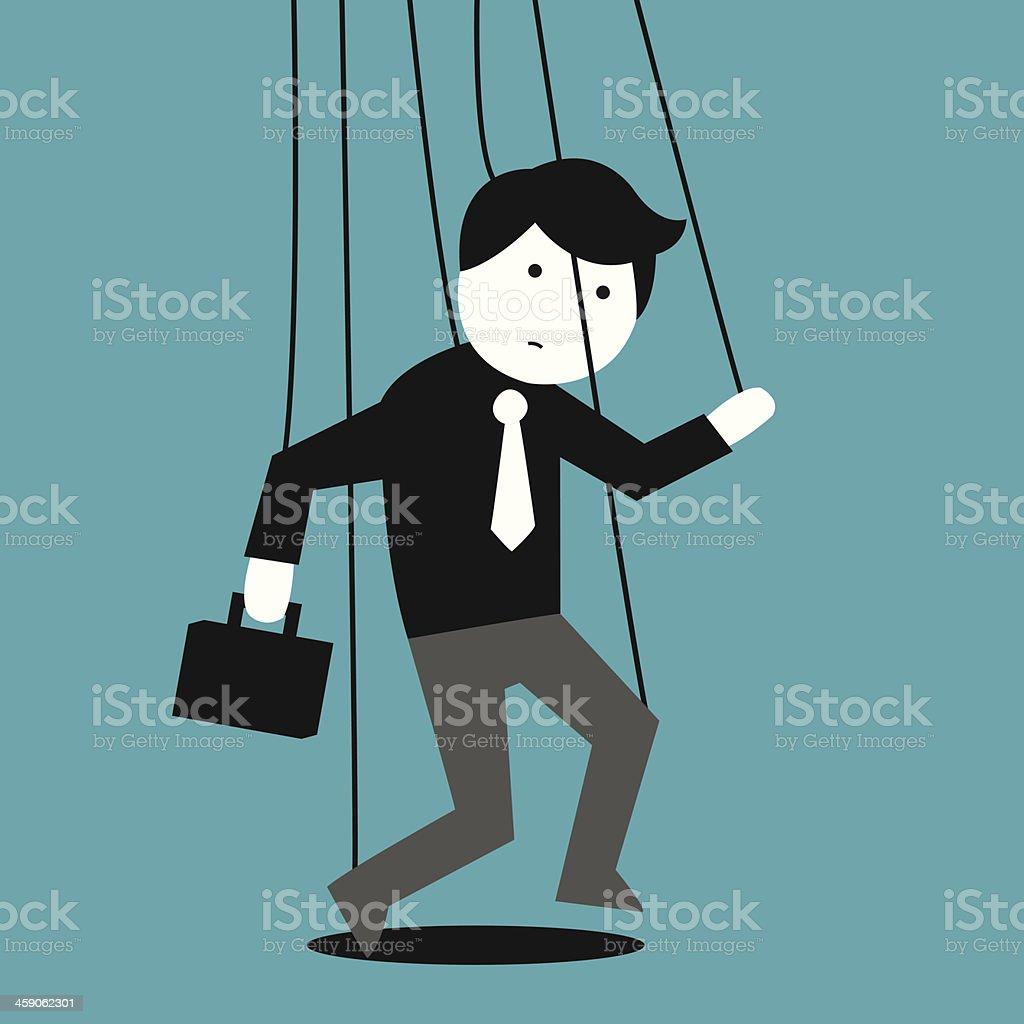 Puppet businessman diagram on blue vector art illustration