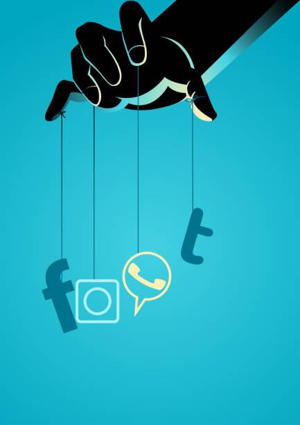 소셜 미디어 기호를 제어하는 인형 마스터 - 퍼펫인형 stock illustrations