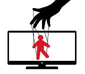 Puppet play TV puppet. Puppet theater audience deception. Vector illustration