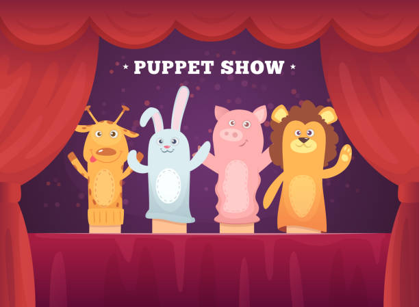 puppet show. red curtains theatre performance for kids stage with socks toys for hands cartoon background - kukiełka stock illustrations