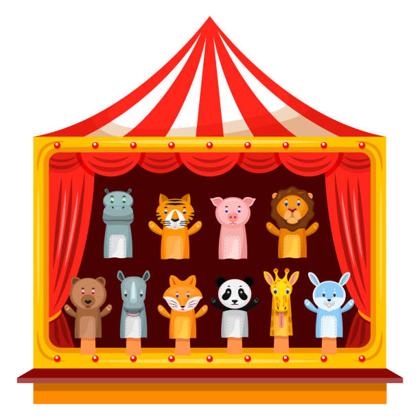 puppet show theatre - kukiełka stock illustrations