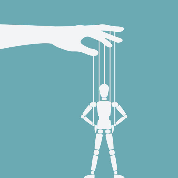 puppet standing with hands on hips - marionetka stock illustrations