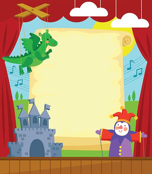 puppet theater vector art illustration
