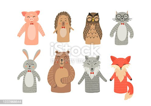 Puppet theatre. Hand toys animals set: pig, hare, fox, owl, rabbit, woolf and bear.