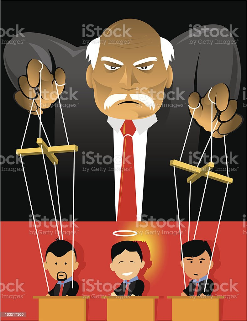 Puppet Workers vector art illustration