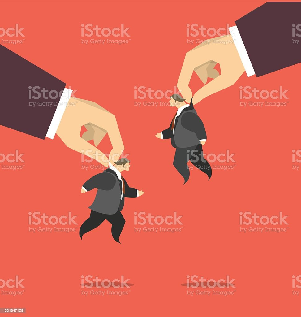 Puppets in the business concept vector art illustration