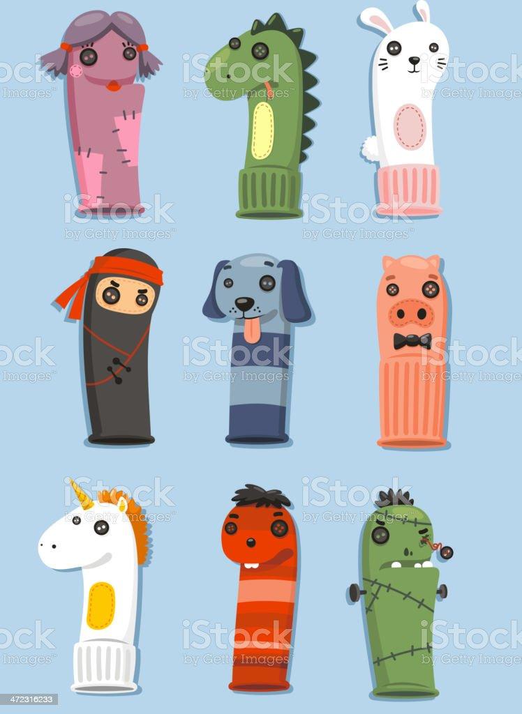 Puppets made of socks Set vector art illustration