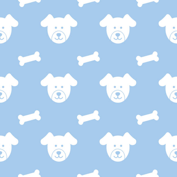 puppies and dog busicuits seamless pattern - dog treats stock illustrations