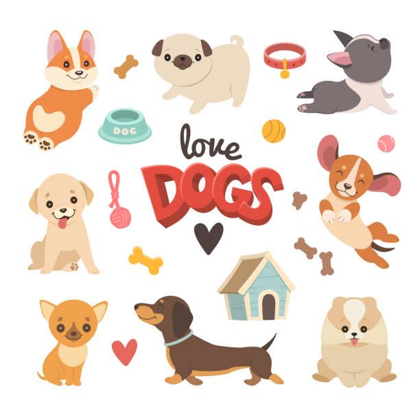 stockillustraties, clipart, cartoons en iconen met puppies-collectie. - schattig