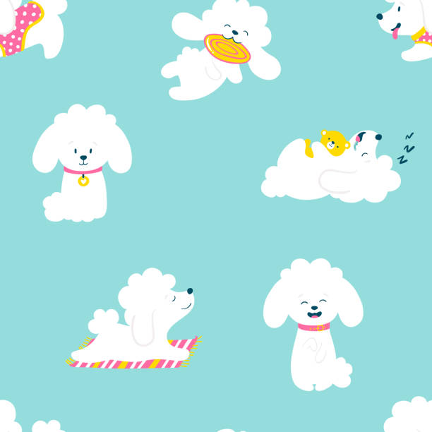 Puppies Seamless pattern . Funny white little poodle dogs in a daily routine. Vector illustration Puppies Seamless pattern . Funny white little poodle dogs in a daily routine. Vector illustration. garden center stock illustrations