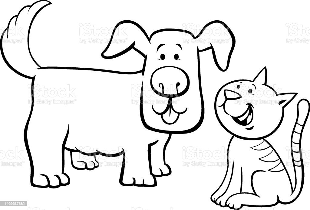 Puppy And Kitten Cartoon Characters Color Book Stock Illustration -  Download Image Now - IStock