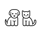Simple line icon design of puppy and kitten. Cute little cartoon dog and cat vector illustration. Vet or pet shop symbol.
