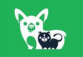 vector illustration of puppy and kitten symbol